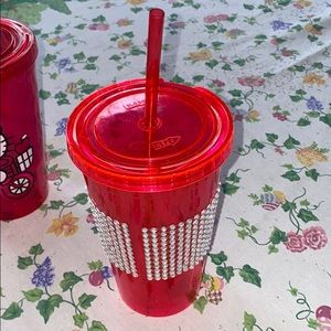 Other - Bedazzled cup with straw